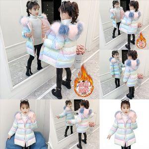 NiE1 Portability New Fashion Children Winter child Down jacket down Jacket Children's Down Hooded Coat Girl's Print Warm Soft