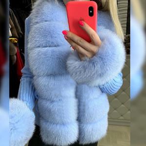 Senhoras Camisola de Pele Mulheres Real Fox Fur Curto Sweater Natural Cardigan