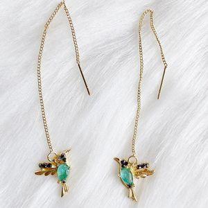 Unique Long Drop Earrings Bird Pendant Tassel Crystal Pendant Earrings Ladies Jewelry Design