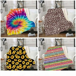 Sherpa Blanket 150*130cm sunflower floral striped leopard 3D Printed Kids Winter Plush Shawl Couch sofa throw Fleece Wrap cape LJJA2961