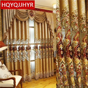 European and American Style Royal Gold Luxury curtains for Living Room window curtain Bedroom Window curtain kitchen Hotel Q1126