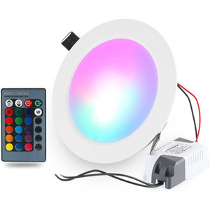 Ultra-thin LED Panel Light Round Concealed Recessed Ceiling Lamp Downlight, Color Changing RGB with Remote Control AC 85-265V