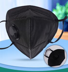 kn95 قناع أسود مكافحة الغبار 95٪ قناع المرشح FFP2 وجه الكربون المنشط التنفس التنفس 5 طبقة أقنعة الفم الشحن المجاني