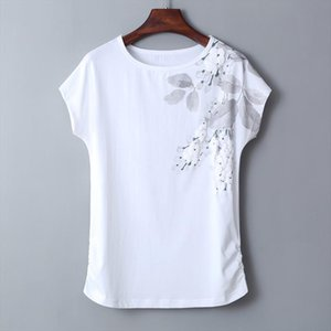 Plus Size 4XL5XL Female T shirt Short Sleeve Floral Print Summer T shirts For Women Side Pleated Cotton Casual Tops Tees