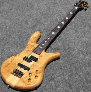 Personalizzato 4 Strings Tree Burl Top Neck Through Through Active Bass Guitar 43 pollici Alta Glivida Glip Glip Glip Electric Bass Guitar