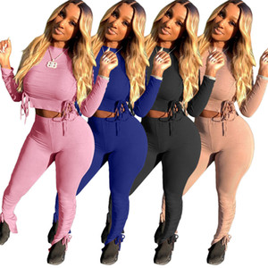 solid color navel exposed long sleeve T-shirt and tight pants two piece set with pit stripe women sports tracksuits Print down woman winter