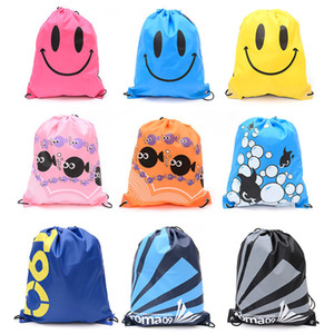 Waterproof Drawstring Backpack Outdoor Travel Organizer Housekeeping Storage Bags for Clothes Shoes Kids Toy Cute Cartoon