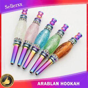 Destacável luminoso cachimbo de água luminoso fumar tubulação cabeça árabe shisha arco-íris metal gotejamento gotejamento noite brilhante conector acessórios