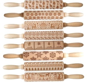 Embossing Rolling Pin Merry Christmas Decorations Cookies Biscuit Fondant Cake Dough Engraved Roller Elk Wooden Baking Moulds
