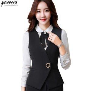 Темпераментные женские бизнес-жилет рабочая одежда Униформа Slim V-шеи металлические кнопки формальные офисные дамы интервью плюс размер пальто 201110