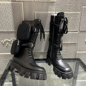 Hot Sale Fashion desinger womens real leather Shoes grils Shoe Monolith Mini bag knee high boot gear chunky heel boot