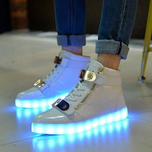 7-colors LED Luminous Metal buckle high top Zippershoes Lace Up Casual Shoes Sportswear SneakerB flash shoes