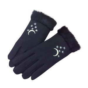 Sagace Women Winter Gloves Star Embroidery Touch Screen Female Suede Furry Warm Full Finger Gloves Lady Outdoor Driving