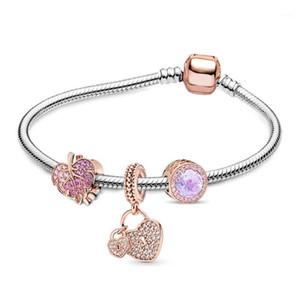 Seialoy Rose Gold Leafers Braclets для женщин Оригинальное сердце Crystal Crystal Beiced Diy Девушки Мальчик Дети Браслет Bangle1
