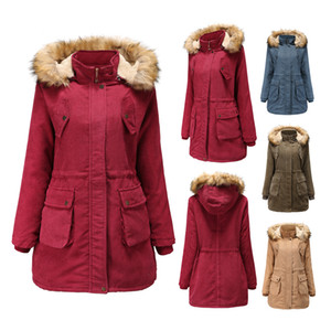 New style ladies coat, woolen corduroy coat, fur collar hat, plus velvet winter 100% cotton red coat, thick warm jacket Cheap down jacket