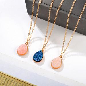 Nueva moda oro lágrima resina druzy collar para las mujeres declaración de moda piedra gargantilla collar colgante joyería al por mayor 46 m2