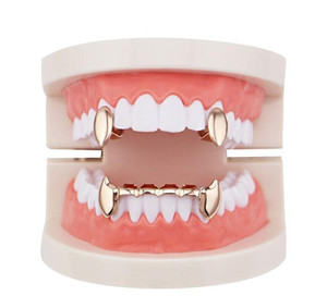 Smooth Grillz Gold Hop Rappers Rose Four Grills Dental Golden Plated Jewelry Body Teeth Silver Real Hip Tiger Gold Gun Colors Vampire jllqx