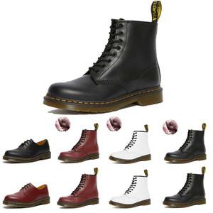 Dr Boots 2976 Erkekler Kadınlar Boots Siyah Beyaz Kırmızı mavi doc kürk deri kış BOT platformu Euro 35-44