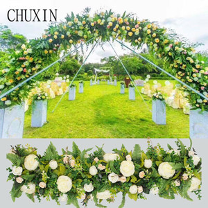 Green fern leaf rose artificial flower row wedding flower arrangement road lead home decoration stage props fake 100cm
