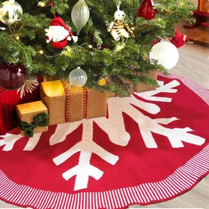 Knitted Christmas Tree Skirt 48 inch Burgundy Knitted Thick Xmas Tree Decoration Christmas New Year Party Ornaments Z480