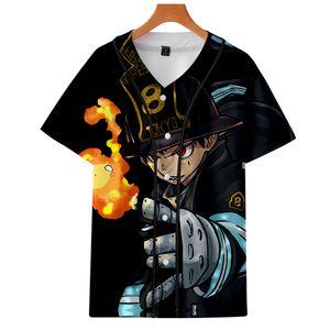 Anime Enen No Shouboutai Fire Force Shinra Kusakabe Cosplay Baseball T Shirt Unisex Summer Short Sleeve Baseball Uniform Jerseys