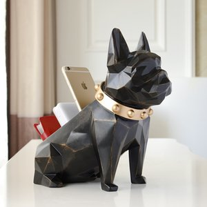Storage Box For Home Decor Office Mobile Phone Tools Control Organizer Resin Dog Statue Figurine for Tabletop Desktop Holder Z1123