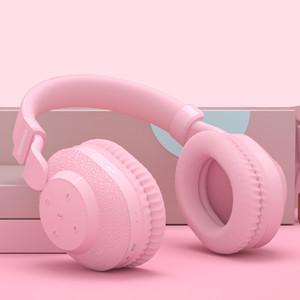 525 헤드폰 블루투스 2020 새로운 헤드셋 TF 카드 이어폰 Hifi 게임 헤드폰 FM Play 핑크 여성 여성용 Y1128