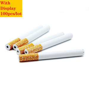 Cheapest Cigarette Shape Smoking Pipes Aluminium Alloy Metal Tobacco Pipes 100pcs Box 78mm 55mm Length One Hitter oil burner Pipes For Smok
