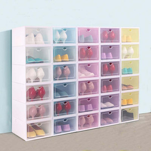 Thicken Plastic Shoe Boxes Clear Dustproof Shoe Storage Box Transparent Flip Candy Color Stackable Shoes Organizer Boxes Wholesale 0269-Pack