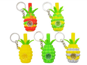 New product 2.8 inch Silicone Smoking Pipe Pineapple Hookahs Silicone Hand Pipes For glass bowl Oil Rigs with keychain Free DHL