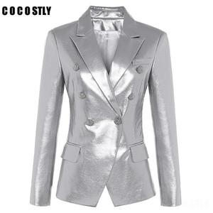 2020 designer lederjacke frauen lion metall buttons doppelt breasted synthetic leder blazer jacken Mantel