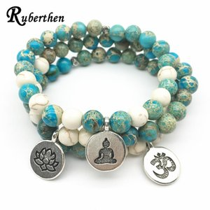 Ruberthen 2020 Hot On Sale High Quality Bracelet Trendy Balance Om Lotus Charm Bracelet Natural Stone Jewelry Best Gift fro Her