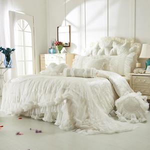 42 Cotton lace jacquard bedding sets boho wedding luxury decorative queen king size 4 8 pcs bedskirt+pillowcase+duvet cover set