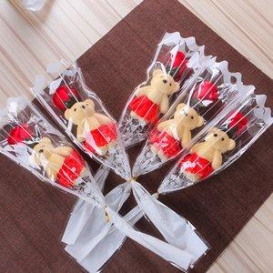 Одиночный медведь мыло цветок имитация медвежонка искусственный цветок роза одна роза для дня Святого Валентина вечеринка одного букета подарок DHF3617