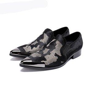 Handmade Erkek Ayakkabi Men Shoes Metal Cap Black Leather Dress Shoes Men Horse Hair Black Business Party Shoes, US12