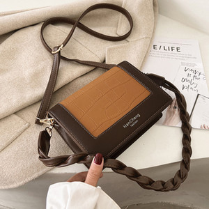 Contrast Color PU Leather Crossbody Bags For Women 2020 Travel Handbag Fashion Shoulder Simple Ladies Cross Body Bag Q1129