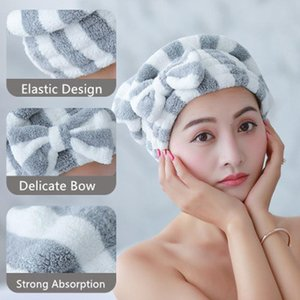 1 pcs microfibra banho cabelo seco tampão super absorvente secagem rápida bowknot chuveiro tampão de banho acessórios