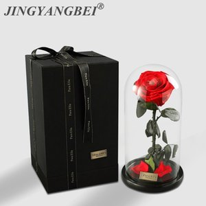 High Quality Glass Cover Roses Eternal Life Flower For Valentine's Day Birthday Gifts Christmas Wedding Wholesale Y1128