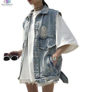 2018 novo verão mulheres denim colete vintage rasgado buraco sem mangas denim waistcoat casaco solto jeans colete jaqueta tnlnzhyn e5681