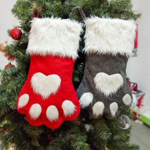 Christmas Party Dog Cat Paw Stocking Hanging Socks Tree Ornament Decor Hosiery plush Xmas Socks kdis Gift Candy Bag KKF3047