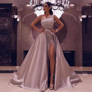 Sparkling Sequins Side Split Long Evening Party Gowns with Detachable Train One Shoulder Robe De Marrige Formal Prom Dresses