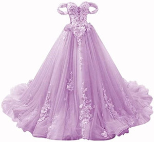 2021 New Princess Sweetheart Appliques Ball Gown Quinceanera Dresses Tulle Lace-Up Sweet 16 Dress Debutante Prom Party Dress Custom Made 031
