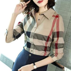 Europa 2020 primavera, verão, outono, inverno, quatro estações listrado impressa camisa de mangas compridas com lapela e blusa de design elegante. Um magro