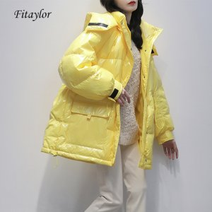 Fitaylor 90% White Duck Down Jacket Winter Bright Coat Women Snow Clothes Loose Medium long Female Down Parka Oversize 201124