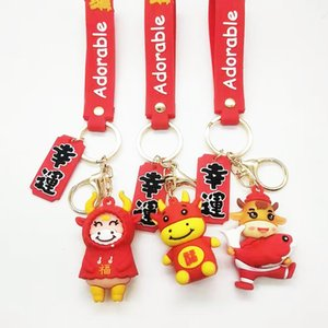 2021 high quality red key ring festive year of the ox 6 styles of cattle accessories accessories choose free delivery