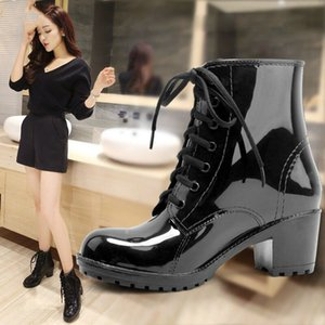 Women's Ankle Rain Boots Autumn Oxford Plain Shoes Woman Dress Zipper Shoe Formal OL High Heels Lady Black Footwear 2019 Q1216