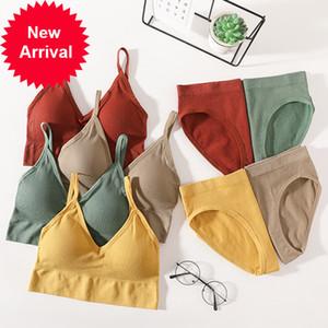 Sexy Mulheres Calcinhas Pusham Lingerie Active Brief Sutiário Bra Crop Trop Top Sem Mangas Sem Emenda Feminino Underwear Set