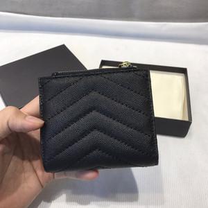 Diseñadores de cremallera de alta calidad Monedas cortas para hombre para mujer Cuero de negocios Titular de tarjeta de crédito Men Wallet para mujer con caja 15 * 11 cm