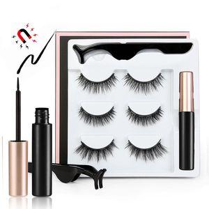 Hot 3D Mink Magnetic False Eyelash extension Magnet Eyeliner Waterproof Liquid Fake Eyelash & Tweezer Set magnetic Makeup Tool