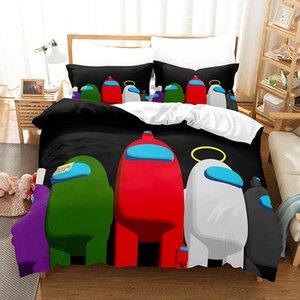 Jogo entre nós roupa de cama E121005 capa 3d conjuntos nos imprimir três tampa de colcha entre porta capa de lençol freio pillowcase conjunto de edredons cute cagx